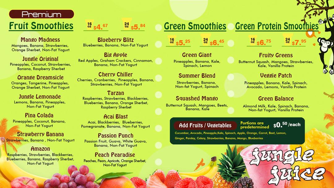 Jungle Juice Menu